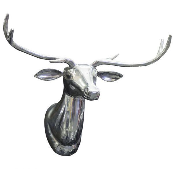 Hirsch Deko-Geweih aus poliertem Aluminium 49x39cm