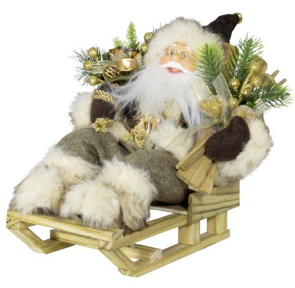 Weihnachtsmann 30cm Dennis auf Schlitten