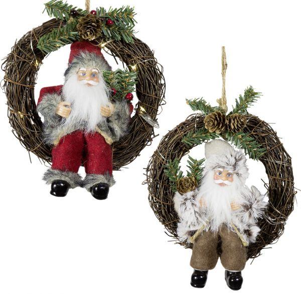 Weihnachtsmann im 2er Set, Türkranz 18cm LED