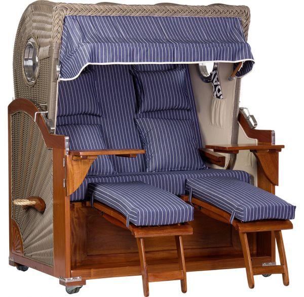 XL Mahagoni Luxus Strandkorb blau-weiß gestreift