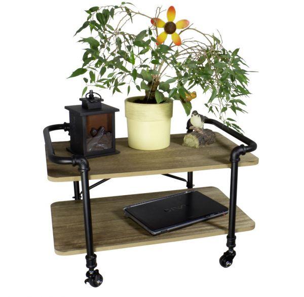 Holz Beistell-Tisch mit Rollen