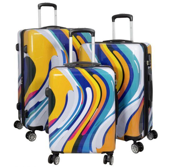 Polycarbonat-Koffer und Kofferset Wellen-Design