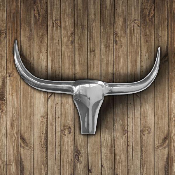 Stier Deko-Geweih aus poliertem Aluminium 92x56cm