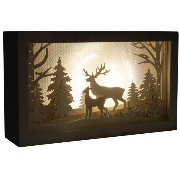 Animierte Weihnachtsszene LED & Musik Hirsch 25cm