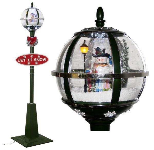 Schneiende LED Standlaterne Schneemann 175cm
