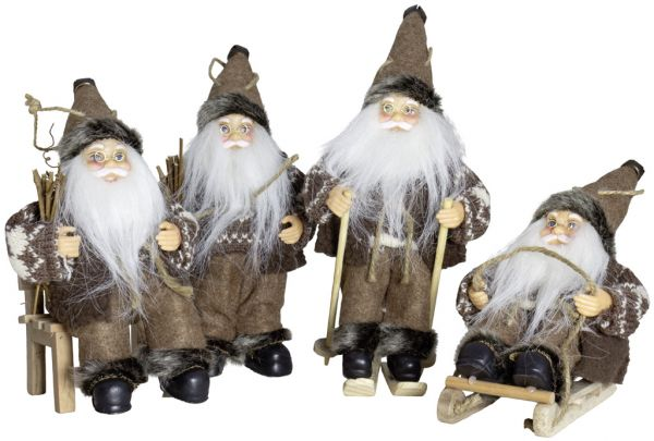 Weihnachtsmann 18cm, 4er Set, 4 Designs