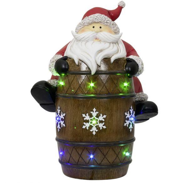 XXL LED Tisch-Deko Weihnachtsmann auf Fass 39cm