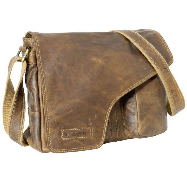 Schultertasche Echtleder Leder braun Umhängetasche Studententasche