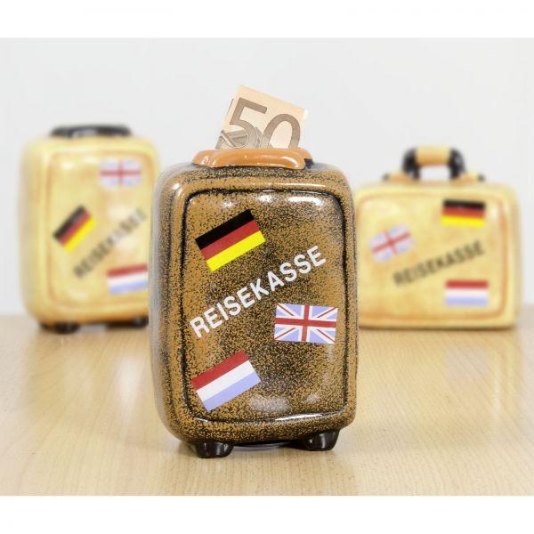 Spardose mit Schloss / Motiv brauner Reisekoffer / Reisekasse