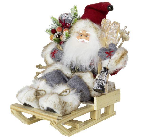 Weihnachtsmann 30cm Laurin auf Schlitten