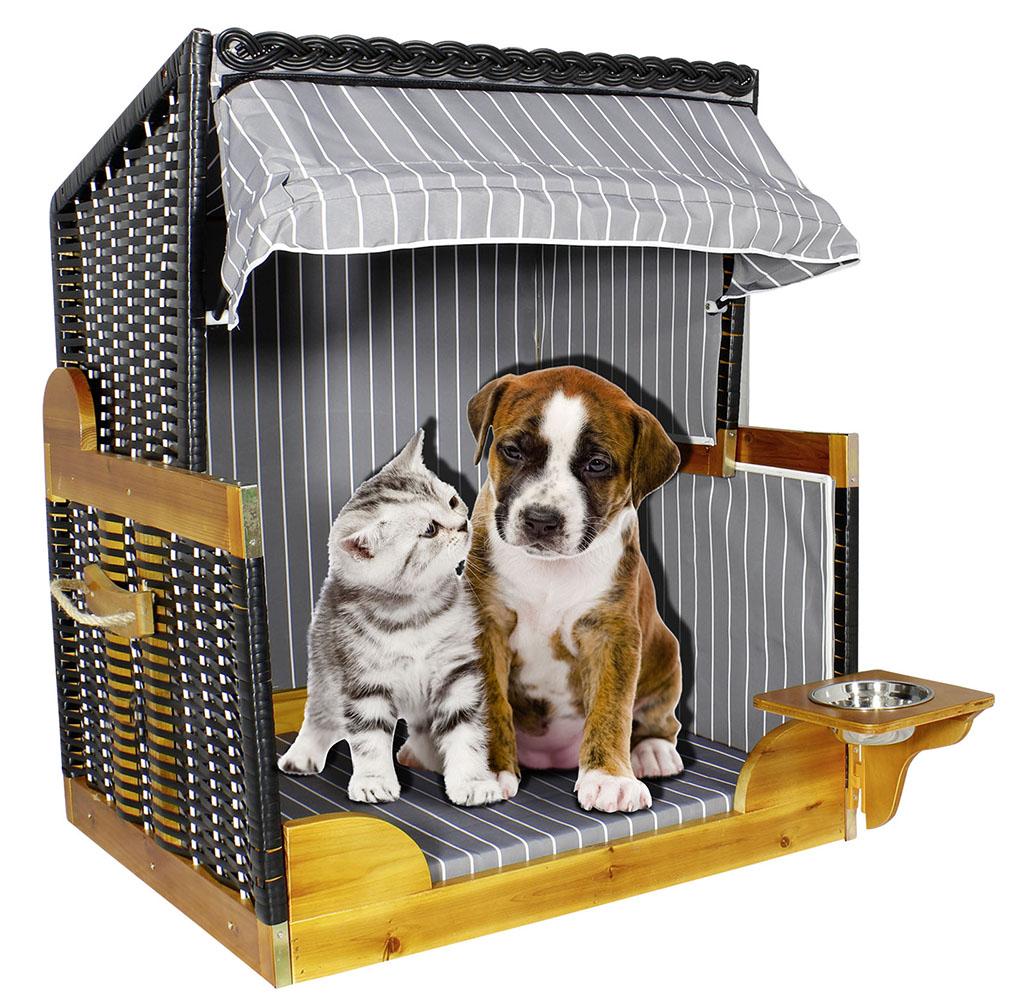 Hundestrandkorb Katze und Hund